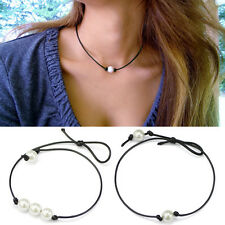 Charm Womens Black Leather Cord White 3 Pearls Pendant Choker Necklace Jewellery