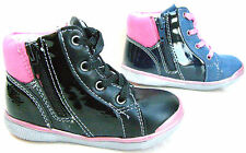 BABY GIRLS LEATHER LINED BLACK NAVY PATENT ZIP LACES WALK BOOTS TRAINERS SHOES