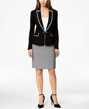Tahari ASL Black w Black white Trim Skirt Suit sz 8-16 New $280