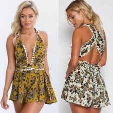 Women Jumpsuit V Neck Floral Playsuit Rompers Sleeveless Short Overalls H2A6