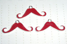 Kitsch Kawaii Moustache Enamel Charms Pendants x 3 lot Kitsch Hot Pink