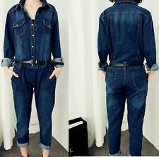 New Fashion Slim Fit Womens Trousers jumpsuit Denim Belted overalls Jean pants