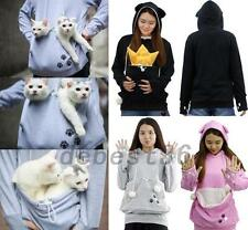 Cat Pet Holder Women's Hoodie Sweatshirt Sweats Track Outwear Jacket Jumper Top