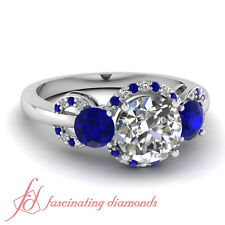 1.35 Ct Round Cut:Ideal Diamond & Blue Sapphire Engagement Ring FLAWLESS 14K GIA