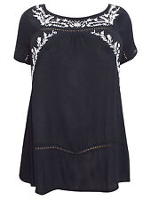 EX NEW LOOK INSPIRE TUNIC TOP SMOCK BLACK WHITE EMBROIDERED BOHO PLUS SIZE 18-26