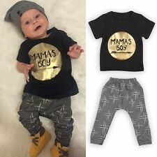 2PCS Baby Boys Short Sleeve T-Shirt / Pants Cotton Summer Kids Clothes Sets