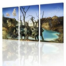 CANVAS (Rolled) Swans Reflecting Elephants Salvador Dali 3 Panels Oil Paint