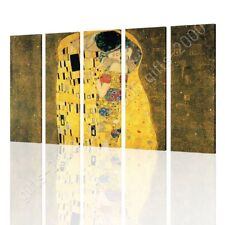 Alonline Art - CANVAS (Rolled) The Kiss Gustav Klimt 5 Panels Wall Art Pictures