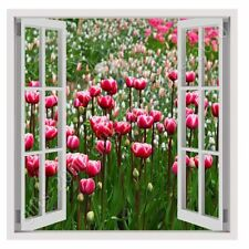 CANVAS (Rolled) Tulips Fake 3D Window Oil Painting Printed On Canvas Oil Paints