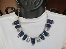NEW CHICOS Nicole Bib Silver Tone Necklace with Blue Stones $59.00