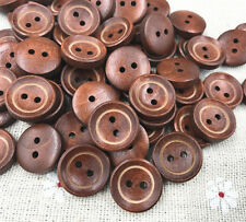 Wooden Buttons Sewing Scrapbooking Round Button 2 Holes Crafts 15mm