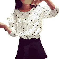 Women 3/4 Sleeve Round Neck Polka Dots Print Layered Decor Casual Top