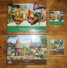 Cockerel & Chicken or Farmyard Country Life Set of 4 Placemats plus 4 Coasters