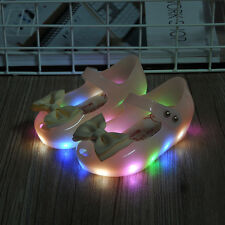 Kids Girls Toddler Lovely Luminous Flat Jelly Shoes Bow Princess Sandals Shoes.