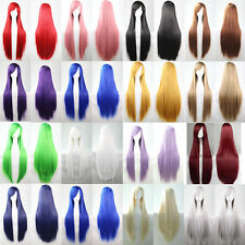9 Colors Long Straight Cosplay Wig Party Wig 80CM Red Blue Green Black White Wig