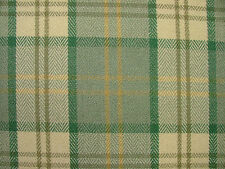 Stirling Duck Egg Gold Wool Effect Washable Tartan Upholstery Curtain Fabric