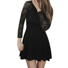 Women Round Neck Long Sleeves Slim Fit Above Knee Lace A Line Dress