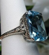10ct *Aquamarine* Sterling Silver Victorian Etched Filigree Ring Size Any/MTO