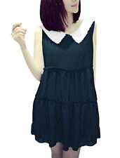Lady's Sleeveless Round Neck Doll Collar Ruched Detail Chiffon Blouse