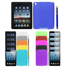 Soft Silicone Skin Case Cover Protector w Screen Touch Pen for iPad Mini