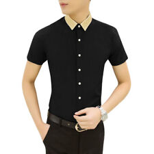 Man Point Collar Contrast Color Short Sleeves Button Down Shirt