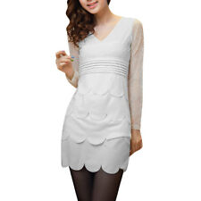 Women Zip Closure Side Long Sleeve Lace Splice Dress