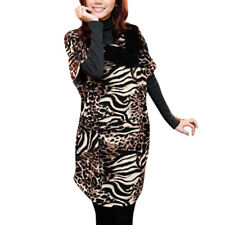 Knitting Bowknot Decor Scoop Neck Leopard Print Dress for Lady