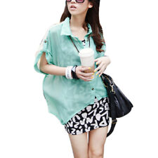 Ladies Point Collar Single Breasted Chiffon Batwing Loose Blouse