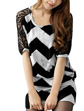 Ladies Scoop Neck Dolman Sleeve Lace Panel Two Tone Tunic Shirt