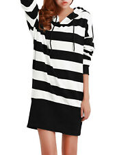 Lady Drawstring Hooded Stripes Pattern Casual Hooded Dress