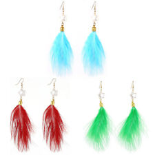 Faux Feather Pendant Star Bead Fish Hook Dangling Earrings Pair