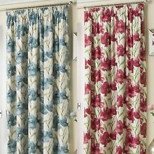 HENLEY FLORAL THERMAL LINED TAPE TOP CURTAINS PENCIL PLEAT READY MADE PAIRS