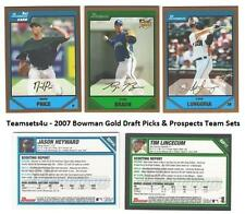 2007 Bowman Gold Draft Picks & Prospects Baseball Set ** Pick Your Team **