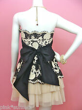 Betsey Johnson Ivory Cotton Tape Strapless Dress Celebrity Prom Party Cocktail
