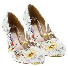 Qupid White Floral Mary Jane Pumps Round toe Kitten Heel Women's shoes Teaser-08