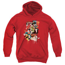 DC Comics Dripping Characters Big Boys Youth Pullover Hoodie RED