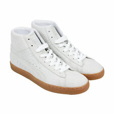 Puma Suede Mid Emboss FA Mens White Suede High Top Lace Up Sneakers Shoes