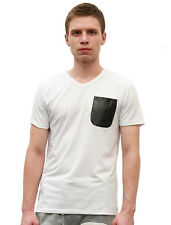 Mens Casual Faux Leather Decor Summer Tee Shirt Tops