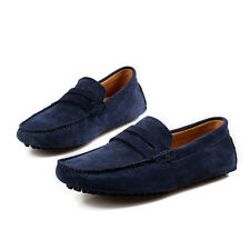 Mens Genuine Leather Casual Slip On Loafer Shoes Moccasins Driving Shoes