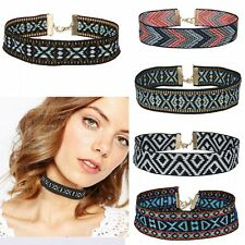 New Colorful Boho Collar Chain Choker Necklace Fabric Ribbon Embroidered Jewelry