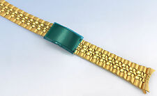 18mm 19mm 20mm Gold-Tone Stainless Steel WATCH Band Bracelet w Curved Ends