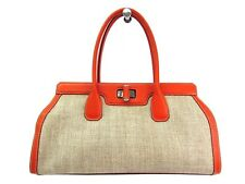Auth TODS Hand bag Coating Canvas/Leather Beige/Orange (BF303809)
