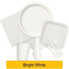 BRIGHT WHITE TABLEWARE - Plates/Cups/Napkins/Tablecovers/Bags/Balloons