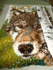 "Wolf Birch Tree 25"" X 36"" Completed Finished Latch Hook Rug Wall Hanging"