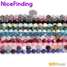 """Round Faceted Gemstone Loose Beads For Jewelry Making Strand 15"""" Assorted Stone"""