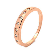Fashion Rose Gold Plated Clear Round clear crystal Promise Love Band Ring Gifts