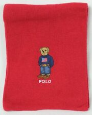 Polo Ralph Lauren Collectable Red Patriotic Teddy Bear Wool Scarf NWT