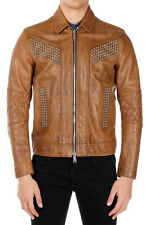 DSQUARED D2 New Men Brown Leather Jacket with Studs NWT original