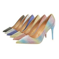 Elegant Pointed Toe Shallow High Heels Stiletto Rainbow Glitter Pump Women Shoes