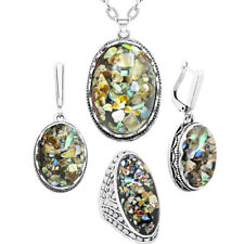 Flower Pendant Oval Shell Bead Jewelry Set Necklace Earrings Ring Fashon Jewelry